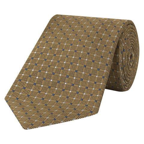 Yellow Diamond Dot Jacquard Woven Silk Tie