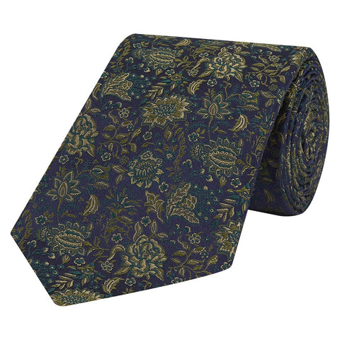 Green and Navy Floral Woven Silk Tie