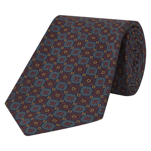 Burgundy and Teal Mosaic Jacquard Silk Tie