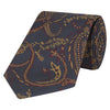 Navy and Burgundy Abstract Paisley Woven Silk Tie