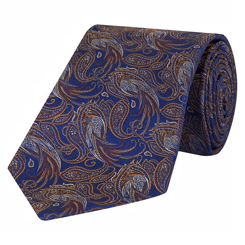 Navy and Brown Paisley Bird Jacquard Woven Silk Tie