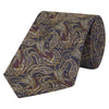Navy and Yellow Paisley Bird Woven Silk Tie