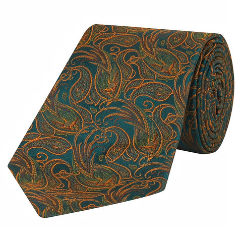 Green and Orange Paisley Bird Woven Silk Tie