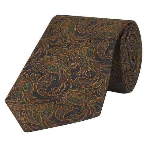Black and Orange Paisley Bird Woven Silk Tie