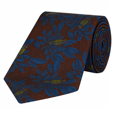 Burgundy and Teal Bird Woven Silk Tie