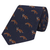Navy and Orange Jumping Fox Jacquard Woven Silk Tie