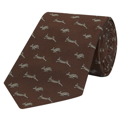 Brown Running Hare Jacquard Woven Silk Tie