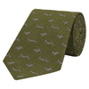 Green Running Hare Jacquard Woven Silk Tie
