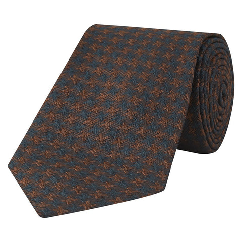 Orange and Green Textured Houndstooth Woven Silk Tie
