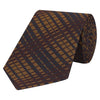 Orange and Burgundy Lustre Check Woven Silk Tie