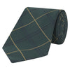 Green Fine Check Hopsack Woven Silk Wool Tie