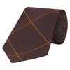 Burgundy and Orange Fine Check Hopsack Woven Silk Wool Tie