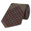 Orange and Brown Tartan Woven Silk Tie