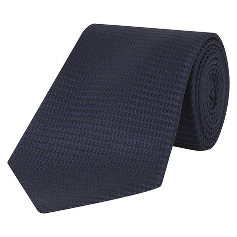 Navy Textured Heavy Twill Woven Silk Tie
