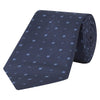 Navy and Blue Mirco Flower Jacquard Woven Silk Tie