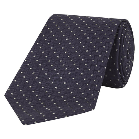 Navy and White Zig Zag Dot Jacquard Woven Silk Tie