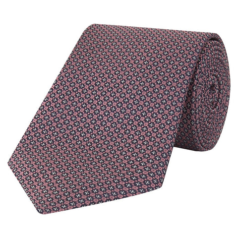 Navy and Pink Micro Circle Grid Woven Silk Tie