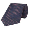 Navy and Pink Micro Circle Dash Woven Silk Tie