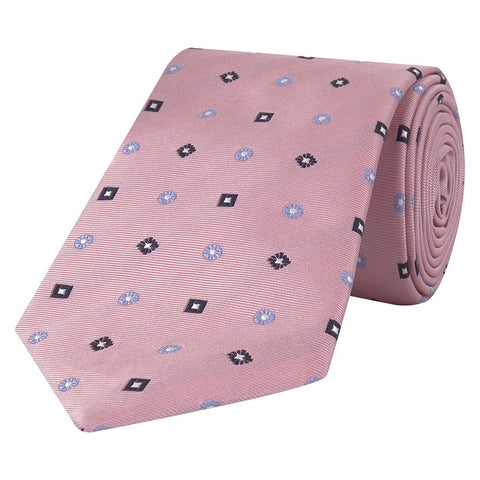 Pink and Navy Abstract Flower Square Jacquard Woven Silk Tie