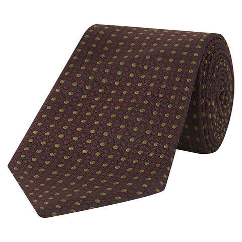 Red and Yellow Textural Micro Spot Jacquard Woven Silk Tie