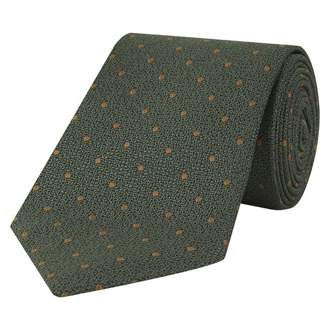 Green and Gold Textural Spot Jacquard Woven Silk Tie