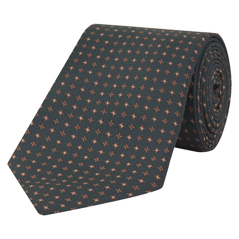 Green and Orange Micro Square Jacquard Woven Silk Tie