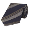 Navy and Brown Large Herringbone Woven Silk Tie