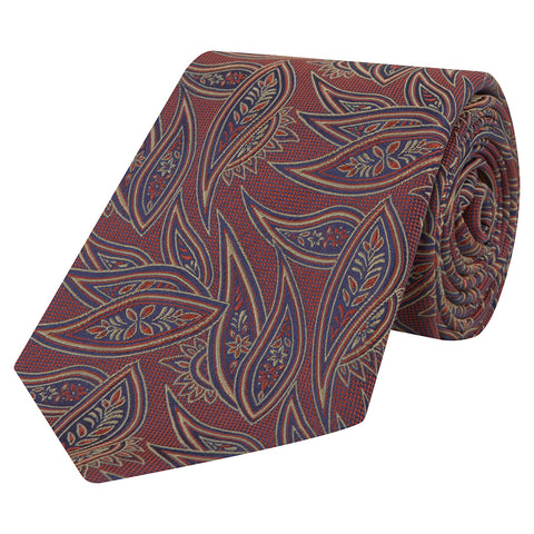 Red Textured Paisley Woven Silk Tie