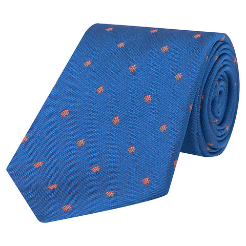 Blue and Orange Micro Fish Woven Silk Tie