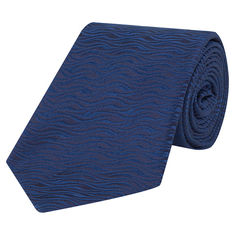 Navy and Blue Textured Wave Woven Silk Tie