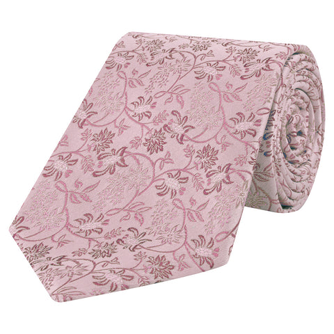 Pink Climbing Floral Woven Silk Tie