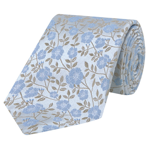 Blue and Silver Flower Woven Silk Tie