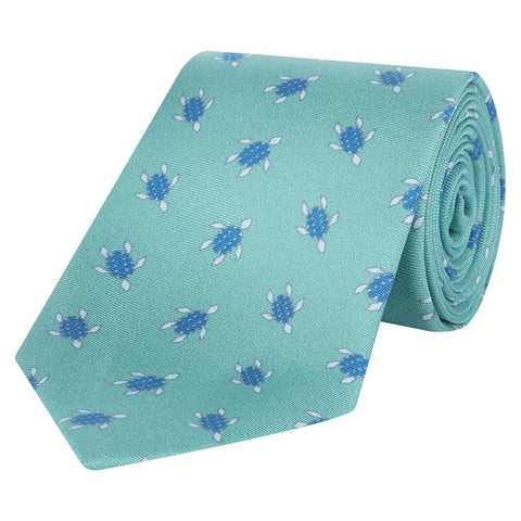 Green and Blue Turtle Printed Silk Tie
