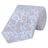 Pink and Blue Flower Woven Silk Tie