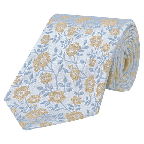 Yellow and Blue Flower Woven Silk Tie