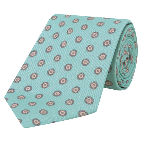 Mint and Pink Flower Printed Silk Tie