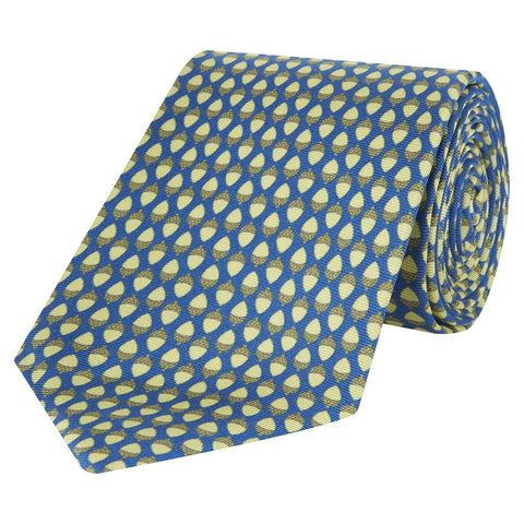 Yellow and Blue Acorn Printed Silk Tie