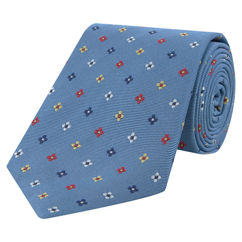 Navy and Yellow Geo Flower Woven Silk Tie