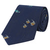 Navy and Mint Seahorse Woven Silk Tie