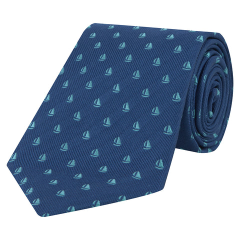 Blue and Mint Boat Twill Woven Silk Tie