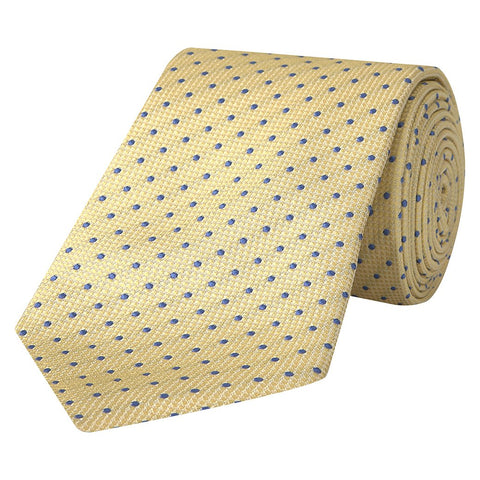 Yellow and Blue Micro Spot Woven Silk Tie