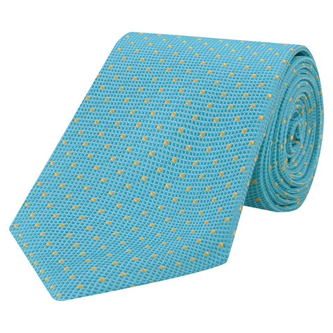 Mint and Yellow Micro Spot Woven Silk Tie