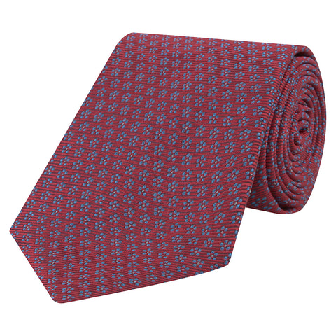 Red and Blue Daisy Twill Woven Silk Tie
