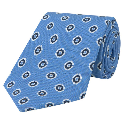 Blue and White Geo Flower Printed Tie