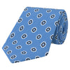 Blue and White Geo Flower Print Silk Linen Tie