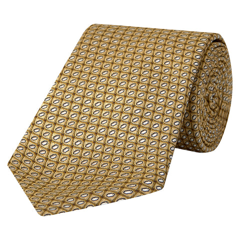 Yellow Diamond Jacquard Woven Silk Tie