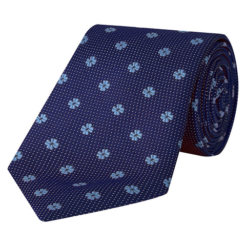 Navy and Blue Flower Spot Woven Silk Tie