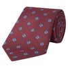 Red and Blue Flower Spot Woven Silk Tie