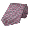 Pink and Grey Square Twill Printed Silk Tie