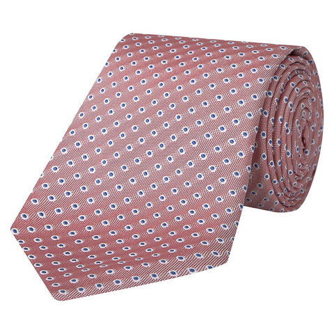 Pink and Blue Textured Spot Woven Silk Tie